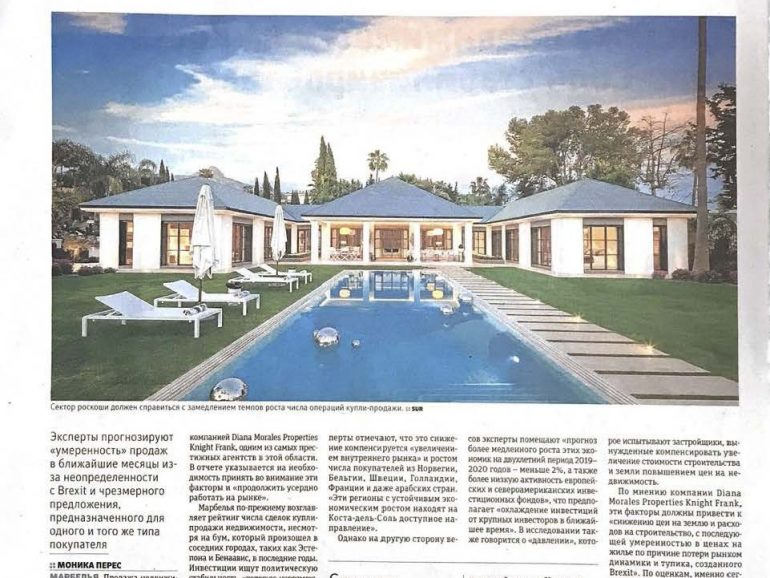 Diario Sur in Russian covers the Diana Morales Properties | Knight Frank Market Report 2019