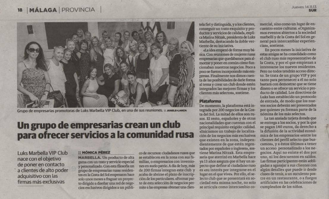 Diario SUR – 14 noviembre 2013 sobre LUKS Marbella