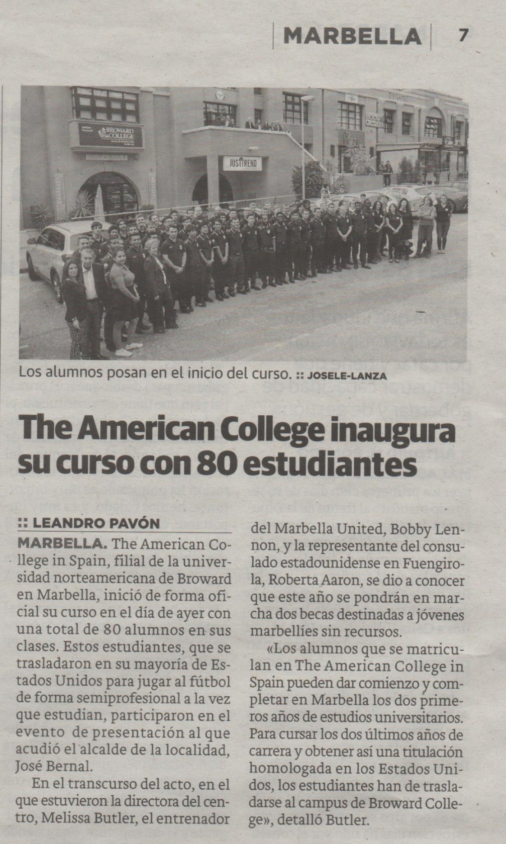 Inicio del curso escolar de The American College in Spain en Diario SUR