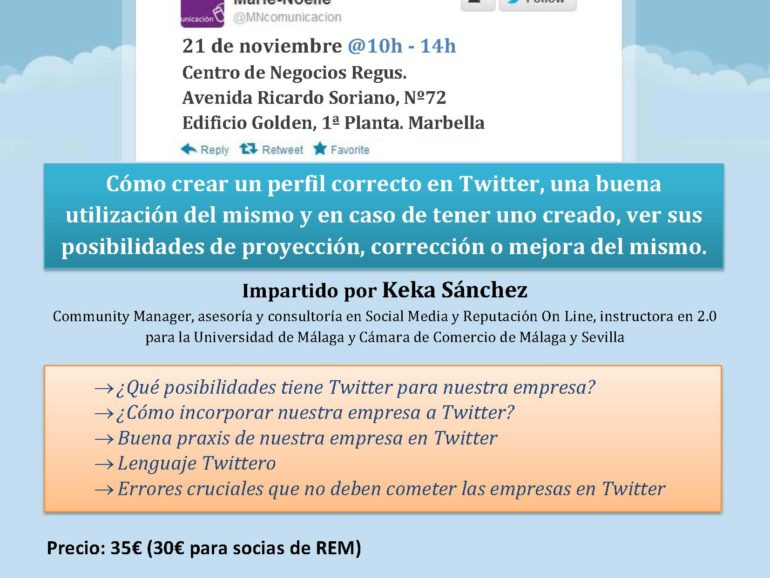 Twitter Course, November 21st. Regus