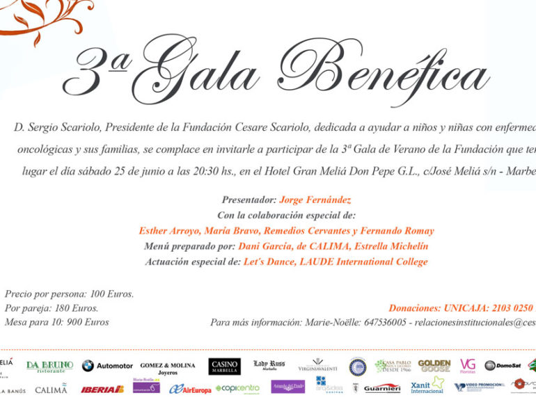 3rd Charity Gala for Cesare Scariolo Trust on June the 25th, at Hotel Meliá Don Pepe, Marbella