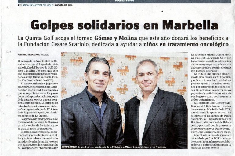 Torneo benéfico de golf Gomez y Molina a favor de la Fundación Cesare Scariolo